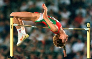 STEFKA KOSTADINOVA (Bulgaria) Clears OR 2:05  Wins Women's High Jump 3/8/96